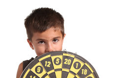 Child with darts isolated Stock Images