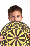 Child with darts isolated Stock Image