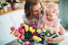 Child daughter congratulates moms and gives her flowers stock images