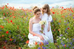Child daughter hugging her mother among the flowers of the field stock photos