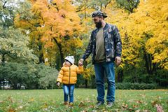 Child daughter walking with her dad in autumn park royalty free stock images