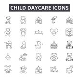 Child daycare line icons for web and mobile design. Editable stroke signs. Child daycare  outline concept illustrations. Child daycare line icons for web and vector illustration