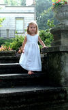 Child Decending Stone Steps royalty free stock photo
