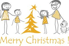 Family Christmas with friends around a fir tree Stock Photo