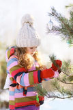 Child decorates a Christmas tree Stock Photography