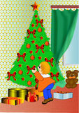 Child decorates fir tree. Illustration child decorates fir tree a toy around window Stock Image