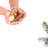 Child decorating Christmas tree Stock Image