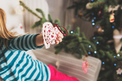Child decorating xmas tree Royalty Free Stock Photo