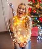 Child decoration christmas tree royalty free stock photography