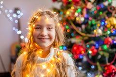Child decoration christmas tree stock image