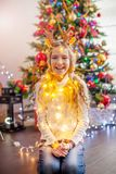 Child decoration christmas tree stock photo