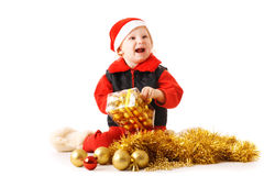 Child with decorations for Christmas Royalty Free Stock Images