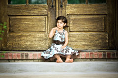 Child deep in thought royalty free stock photos