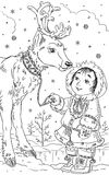 Child with the deer. Black and white illustration of the deer and a child Stock Image