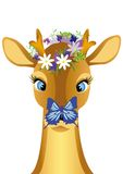 Child deer with  butterfly on nose Royalty Free Stock Image