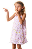 Child demanding quiet pointing Royalty Free Stock Photography