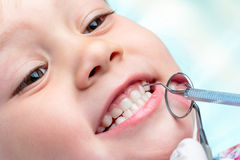 Child at dental check up. Royalty Free Stock Photography