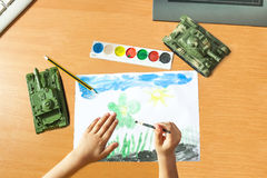 Child depict the world. Child represents the world, watercolor drawing, the end of the war Stock Image
