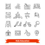Child development and childhood education. Thin line art icons set. Kids toys, care, routine. Linear style symbols isolated on white Stock Photography