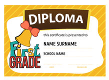 Child diploma or certificate to be awarded to the. Template vector of child diploma or certificate to be awarded to the first graders at school Stock Image