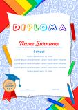 Child diploma with numbers, scrolls, pencils, notebooks and pen stock illustration
