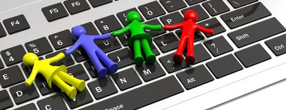 Colorful human figures holding hands laying on a computer keyboard. 3d illustration. Child disability, autism and technology. Four colorful human figures holding Royalty Free Stock Photos