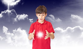 The Child Discover The Sun. In the Couds Stock Photos