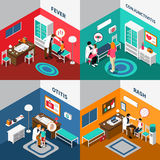 Child Diseases Colorful Isometric Compositions. Including kids with fever rash otitis conjunctivitis and pediatricians isolated vector illustration Stock Images