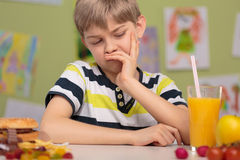 Child dislike healthy lunch Stock Images
