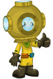 Child diver character cartoon style  illustration white Stock Photos