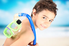 Child with diving mask. Happy and smilling child with diving mask Stock Image