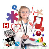 Child Doctor with Academic Career on White. A small child is wearing a doctor uniform with health and medical icons around her like pills, heartbeat, and xray Royalty Free Stock Photos