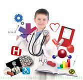 Child Doctor with Health Icons on White. A child is wearing a doctor uniform with health and medical icons around the boy for an education career concept Stock Photos