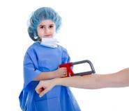 Child doctor joke amputation. White background stock image