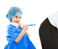 Child doctor make injection Royalty Free Stock Photos