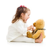 Child doctor playing toy. Child dressed as doctor playing with toy Stock Photography