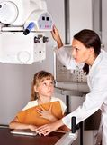 Child with doctor radiologist. Stock Images