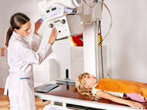 Child with doctor radiologist. Royalty Free Stock Images