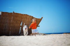 Child with dog Stock Photo