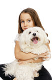 Child  and dog. Little girl with a maltese dog looking to a direction Stock Photography