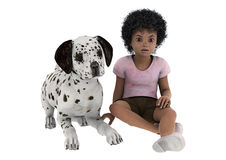 Child and Dog vector illustration