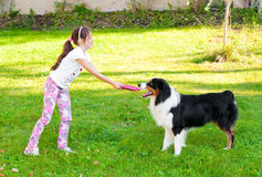 Child and a dog Royalty Free Stock Image