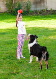 Child and a dog stock image