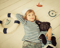 Child and dog Stock Photo