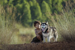 Child with a dog Stock Photo