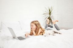 Little child with laptop Royalty Free Stock Photos
