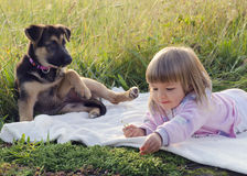 Child with dog in nature Stock Photos