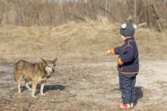 Child with dog on nature in spring Royalty Free Stock Photo