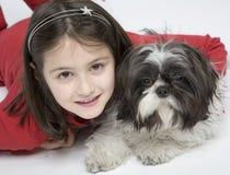 Child with dog pet Stock Image