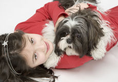 Child with dog pet Stock Images